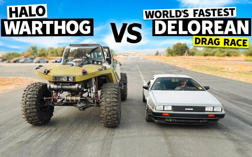 Самый быстрый DeLorean сразился в дрэге с экстремальным вездеходом. Видео