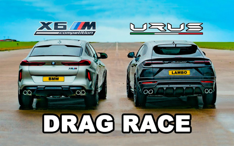 Гонку кроссоверов BMW X6 M и Lamborghini Urus показали на видео