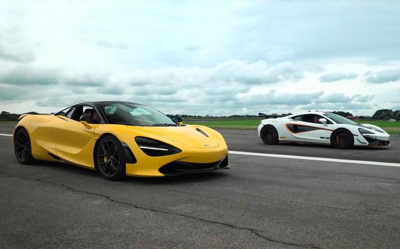 Два очень мощных McLaren посоревновались в дрэговом заезде. Видео