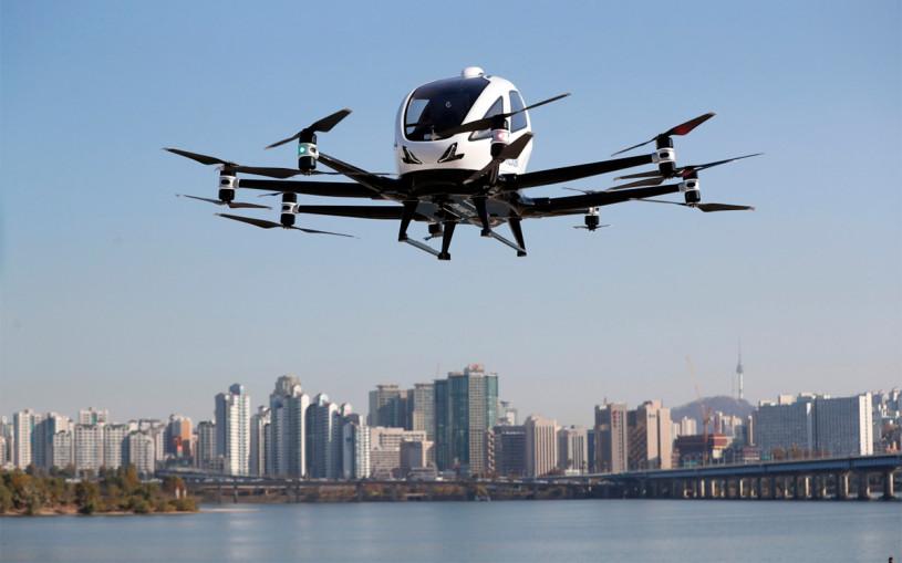 В центре Сеула впервые прошли испытания летающих такси