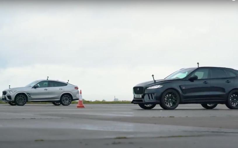 BMW X6 M сразилась с Jaguar F-Pace в гонке по прямой. Видео