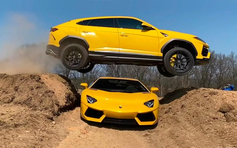 Блогер за рулем Lamborghini Urus перепрыгнул Aventador. Видео