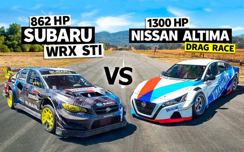 Сверхмощные Subaru WRX STI и Nissan Altima сразились в дрэге. Видео