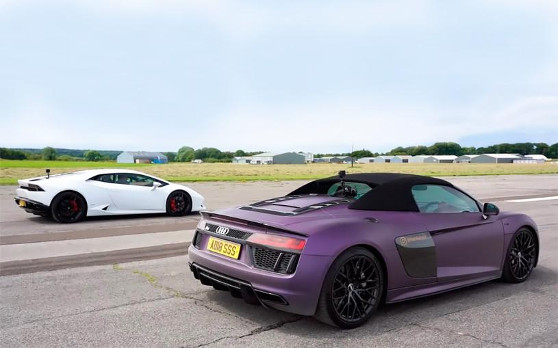 Гонку родстера Audi R8 и спорткупе Lamborghini Huracan показали на видео