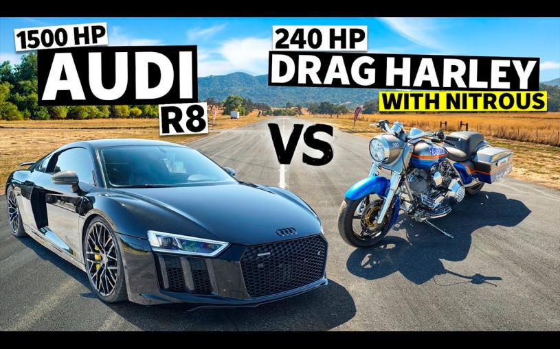 Гонку Audi R8 и  Harley Davidson с закисью азота показали на видео