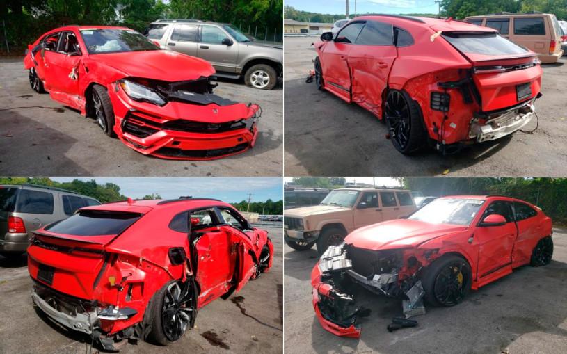 Разбитый Lamborghini Urus выставили на аукцион за $850. Фото