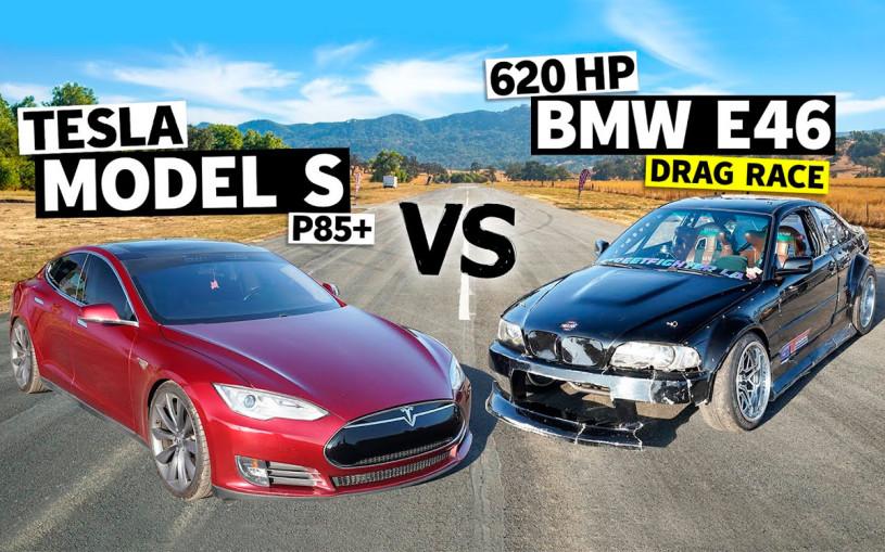 Электрокар Tesla Model S сразился в дрэге с 620-сильным BMW. Видео