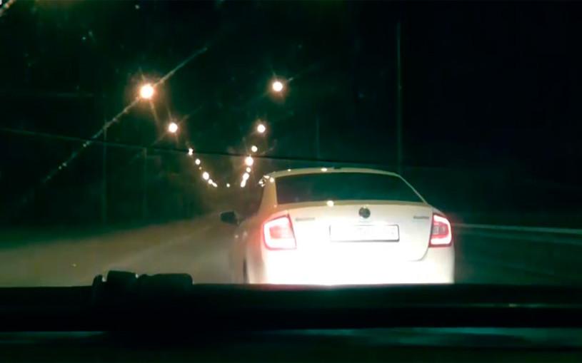 Экстремальная погоня ГИБДД за Skoda с пробитым колесом попала на видео
