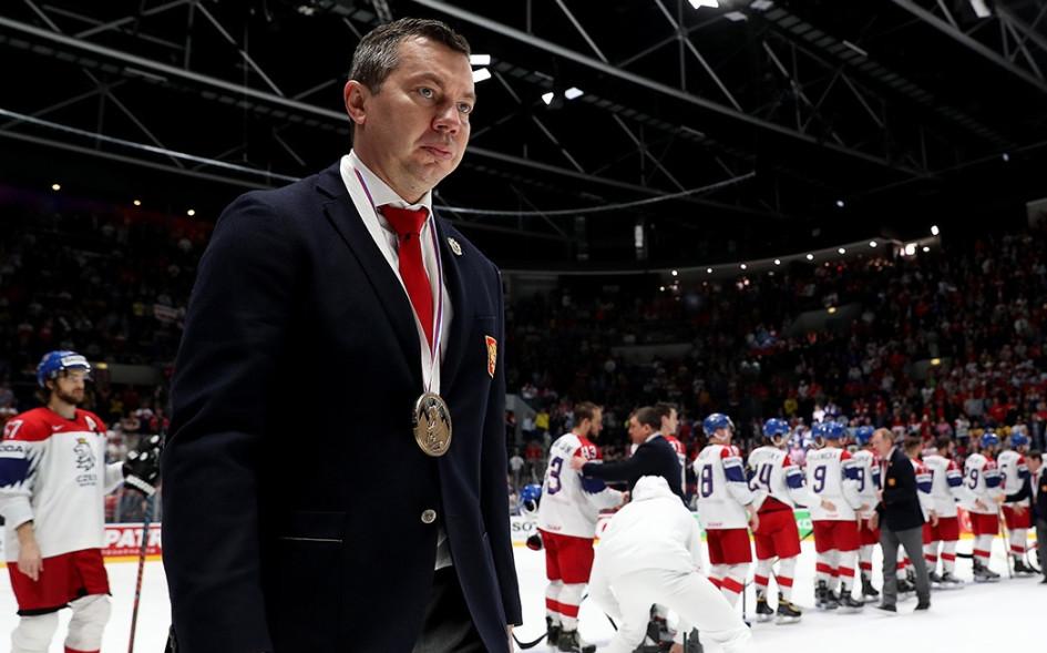26 мая 2019 года. Братислава. Илья Воробьев после окончания матча за третье место с командой Чехии