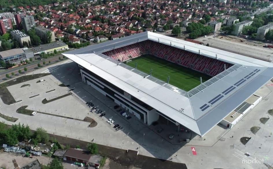 DVTK Stadion (Мишкольц, Венгрия). Вместимость 14 680 зрителей, сроки строительства — 2 ноября 2016г. — 30 апреля 2018г., стоимость строительства — $47 млн.