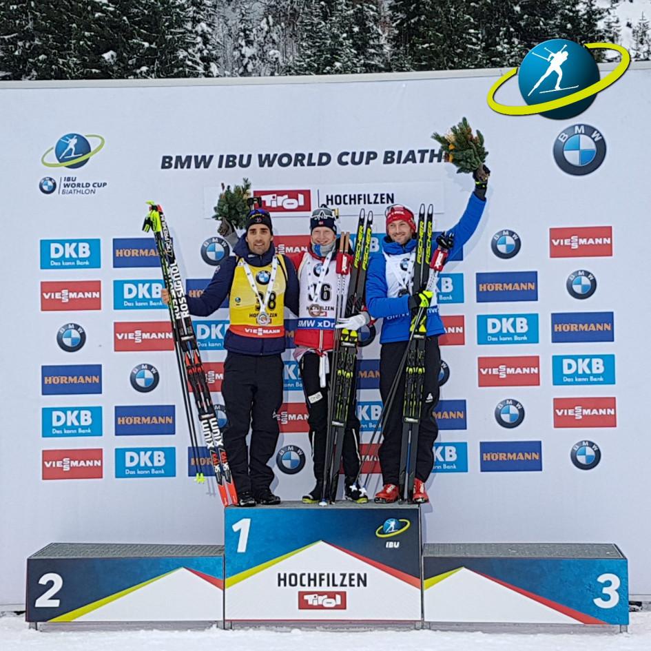 Призеры спринтерской гонки в Хохфильцене Мартен Фуркад, Йоханнес Бё и Яков Фак (слева направо)