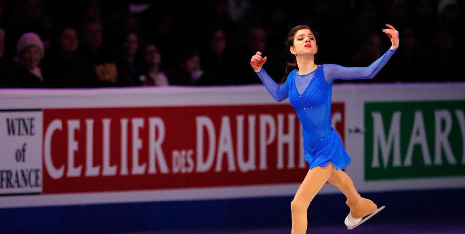 18-летняя Евгения Медведева на чемпионате мира 2016 года.