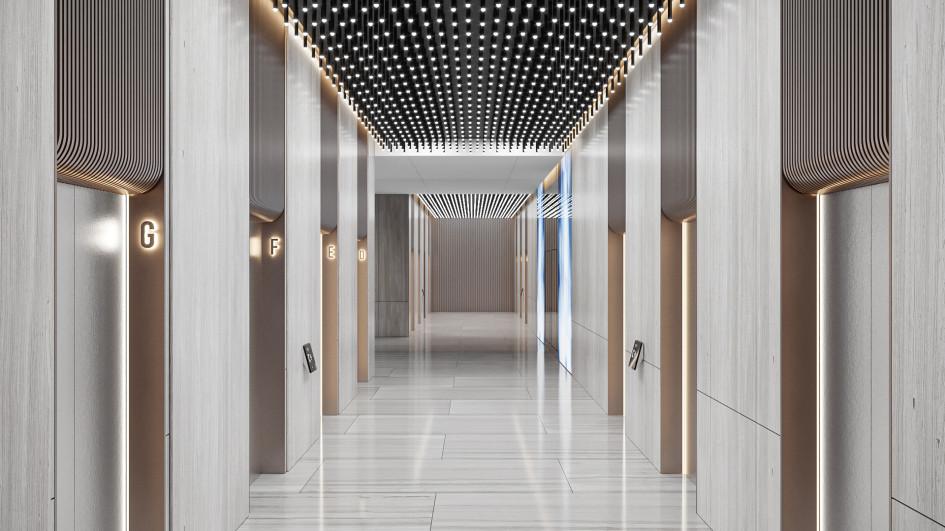 Лифтовый холл. Визуализация AFI Development