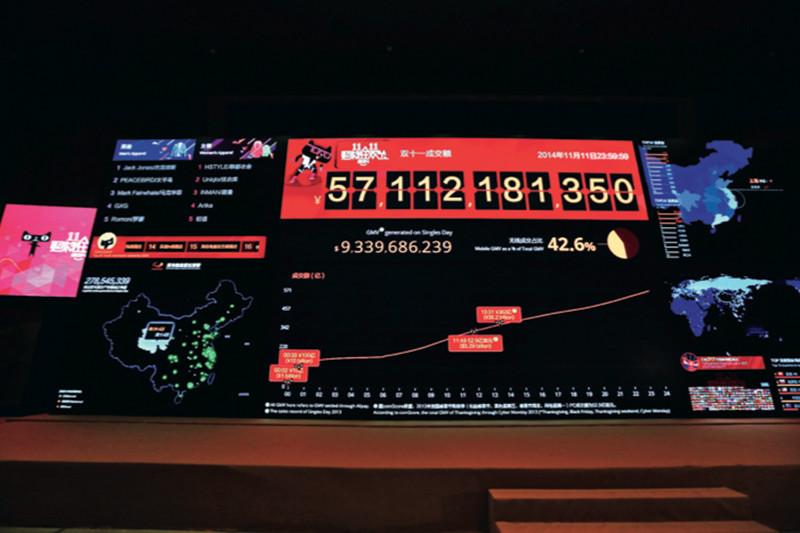 Традиционной «фишкой» Alibaba является гигантская онлайн-распродажа на«Всемирном дне шопинга11.11», которыйотмечают вКитае 11 ноября. Показатели распродажи врежиме реального времени выводятся нагигантское табло вштаб-квартире компании вХанчжоу. 11 ноября 2014 года Alibaba продала товаров на$9,23 млрд, побив свой предыдущий рекорд ипревзойдя показатели американских «Киберпонедельника» и«Черной пятницы»