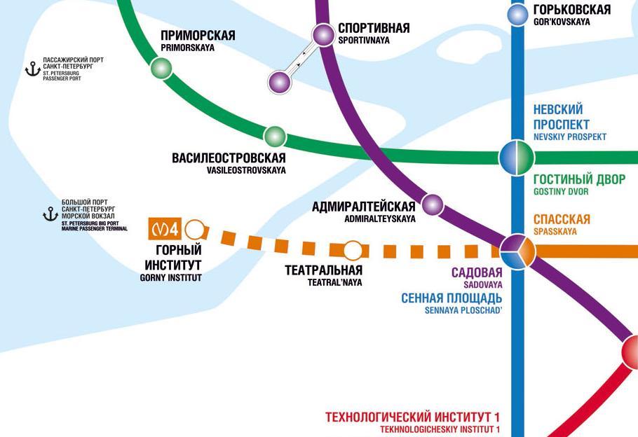 Схема западного отрезкаЛахтинско-Правобережной линии метро