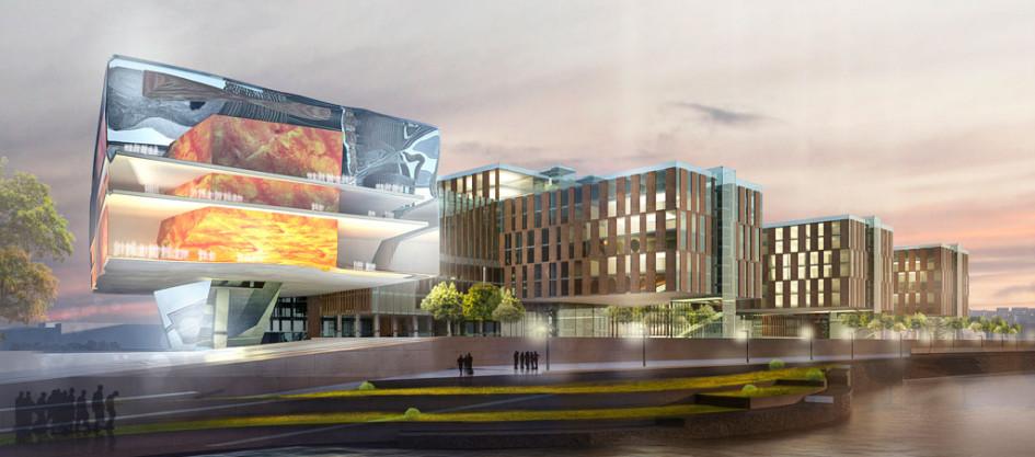 Завершает архитектурный ансамбль городской площади концертныйзал, которыйархитекторы вынесли ближе кАнгаре