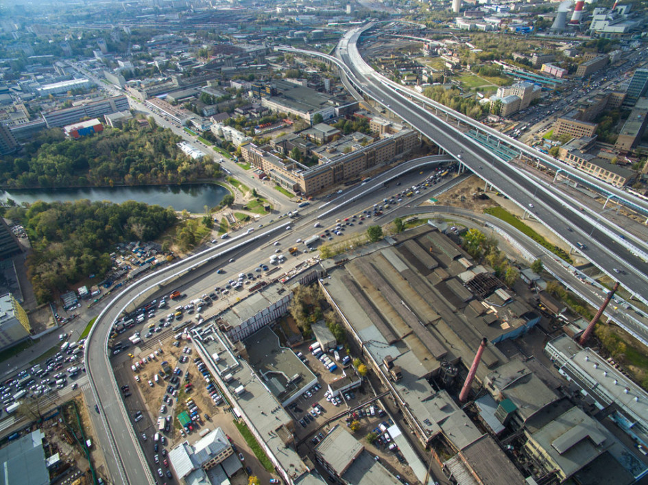 Вид на шоссе Энтузиастов, строящийся участок Северо-Восточной хорды, улицу Уткина, Электродный проезд