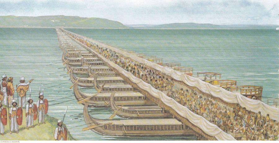 Армия Ксеркса пересекает Геллеспонт для вторжения в Грецию, 480г. до н.э.