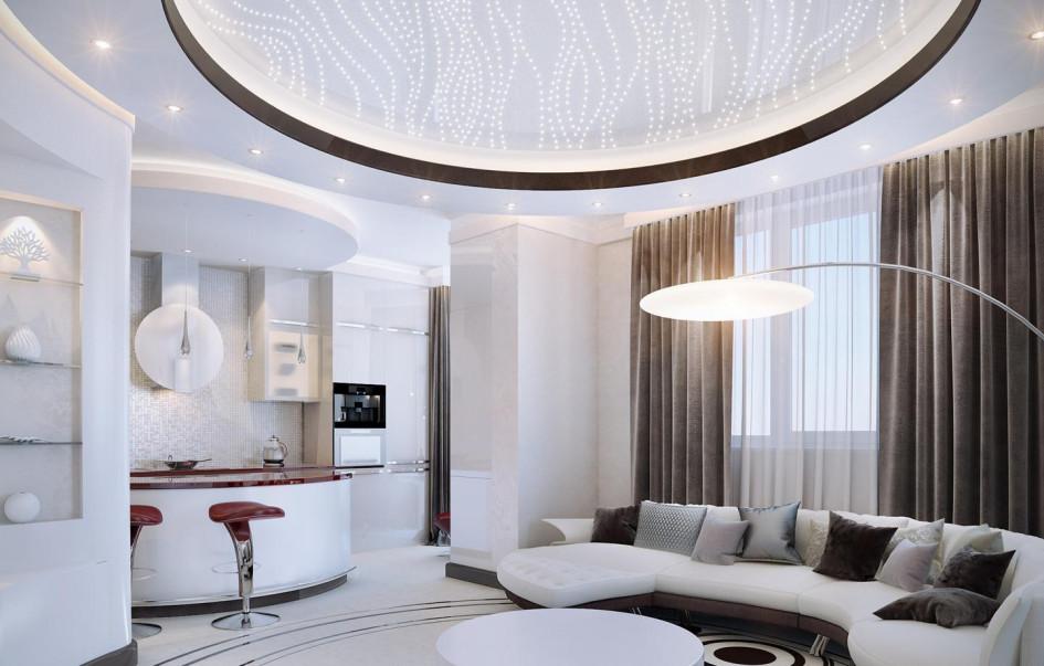 На примере квартиры, дизайн которой разработала Мария Боровская, можно увидеть, как выглядит квартира с прямыми стенами, если в нее «вписать» круглую гостиную с соответствующей мебелью