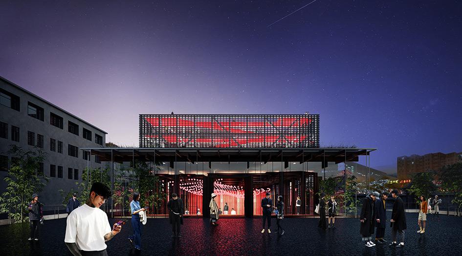 В формообразовании пространства театра стилистически обыграна тема китайских драконов