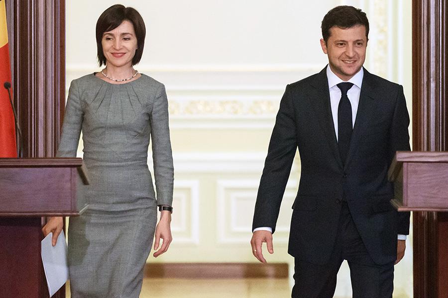 Владимир Зеленский и Майя Санду во время брифинга по итогам встречи в Киеве. 2019год
