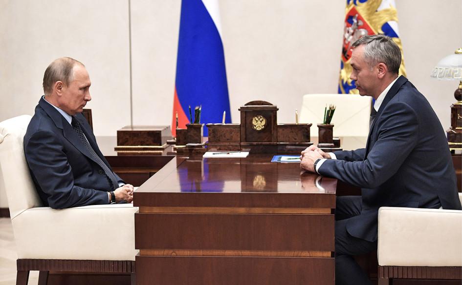 Владимир Путин и Андрей Травников (слева направо)