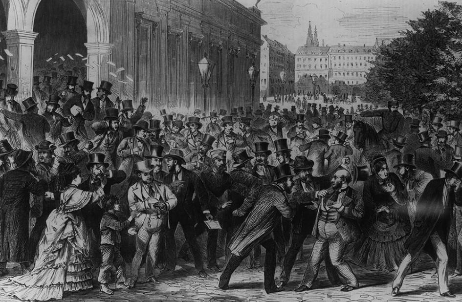 Гравюра 1873г. Разъяренная толпа на улице в Вене после объявления о крушении фондового рынка