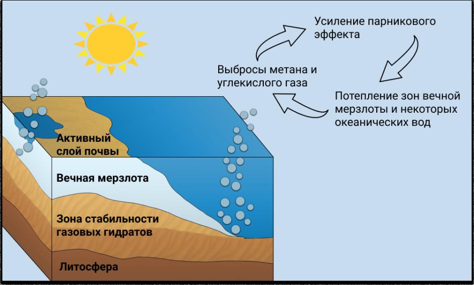 Сначала тает активный слой почвы, а затем и вечная мерзлота, которую больше ничего не прикрывает