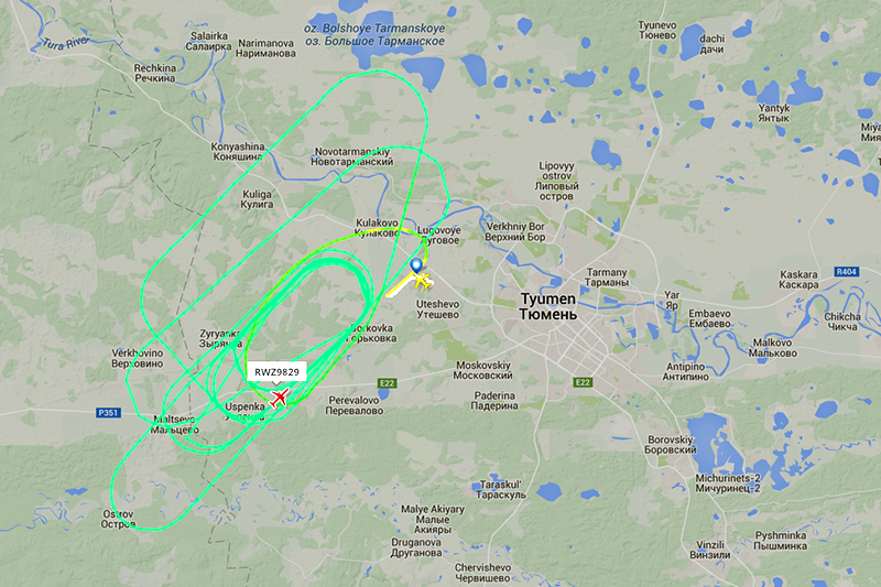 Траектория кружения Ту-204 авиакомпании Red Wings