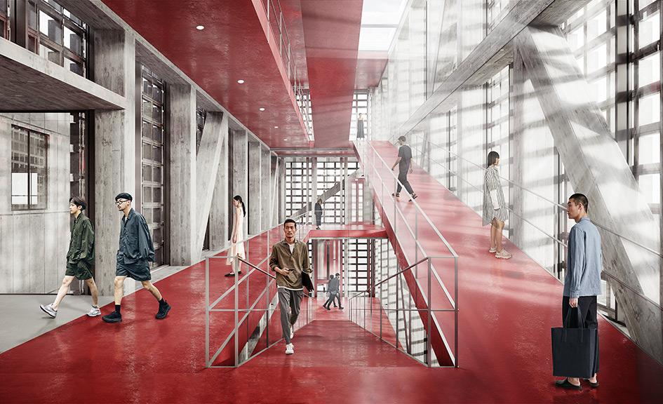 В новом здании два корпуса: первый — пятиэтажный блок с пандусами и лифтами, второй — двухэтажный с театром, залами для мастер-классов, лекций и фуд-кортом