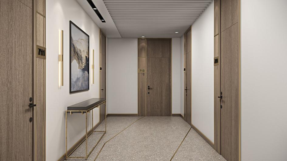 Визуализация дизайна коридоров в подъезде ЖК «Береговой»