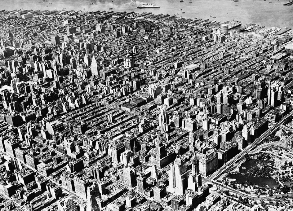 Вид на высотную застройку Нью-Йорка, 1920-е годы