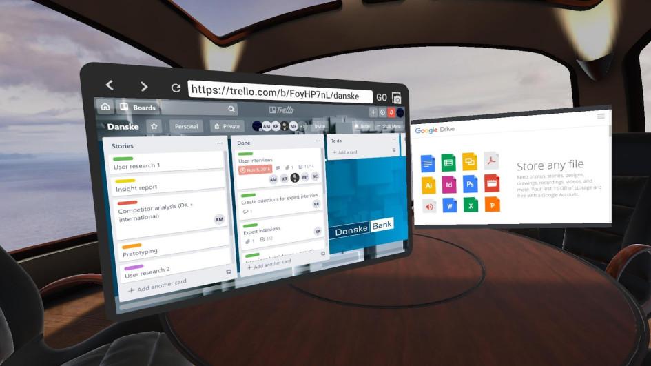 Вид из виртуальной переговорки MeetinVR на Бали, где пользователь работает над задачами в Trello и загружает файлы в Google Drive