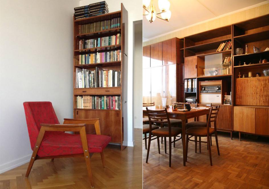 Справа: типичный интерьер гостиной вхрущевке. Слева: румынское кресло икнижный шкаф—привычные атрибуты советского жилья середины прошлого века