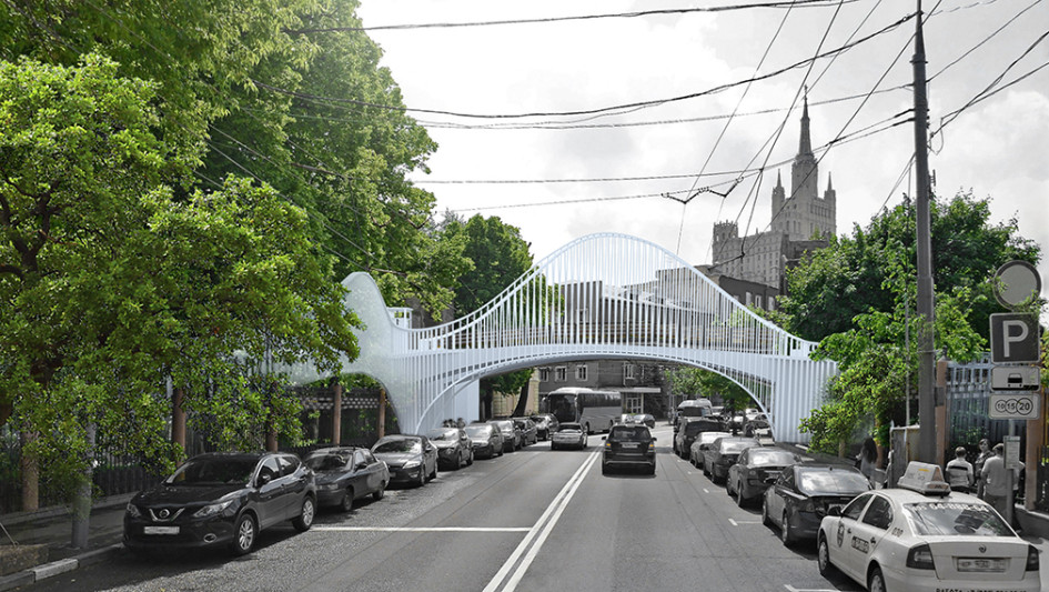 Проектный вид на новый мост через Большую Грузинскую улицу
