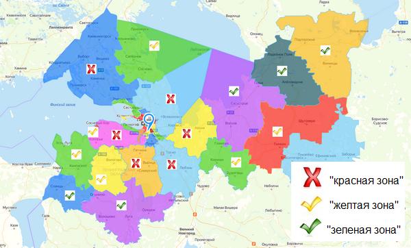 Все районы Ленобласти поделены на «красную», «желтую» и «зеленую» зоны, где действуют разные ограничения