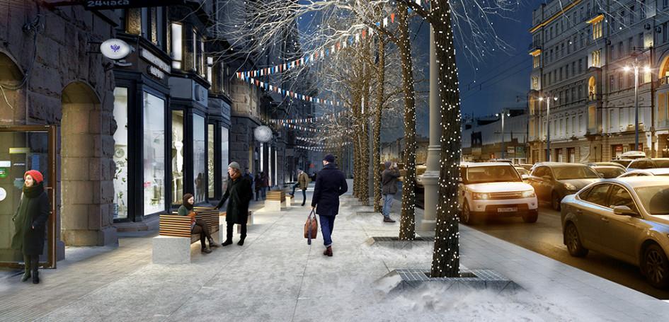 Вдоль Тверской и 1-й Тверской-Ямской улиц высадят деревья и кустарники: как в уровень тротуара, так и в специальные кадки