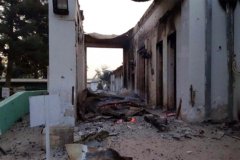 Здание госпиталя после обстрела