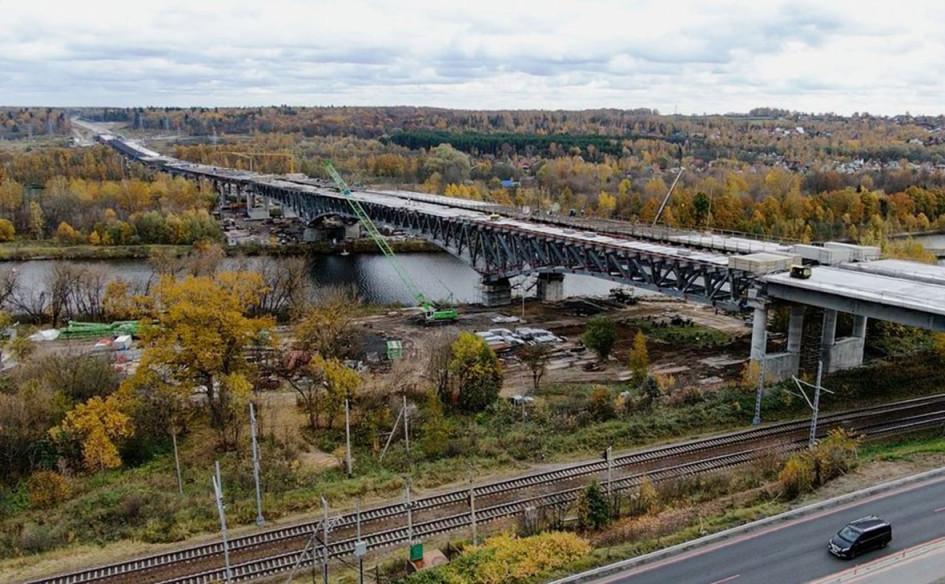 Строительство моста через Канал им. Москвы на участке № 3 ЦКАД