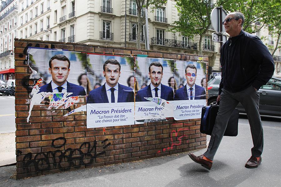 Предвыборная агитация Эммануэля Макрона