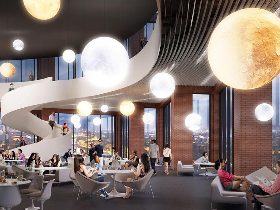 Визуализация интерьера ресторана на 18-м этаже здания