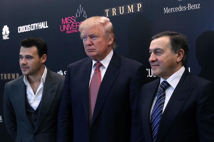 Эмин Агаларов, Дональд Трамп и Арас Агаларов (слева направо)