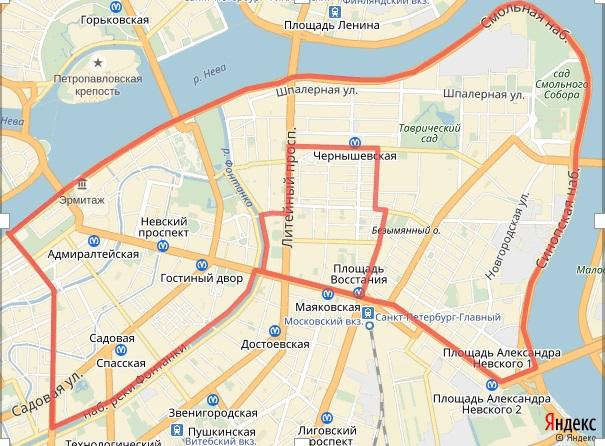Зона платной парковки в центре Петербурга