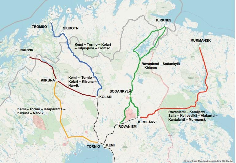 Пять альтернативных путей железнодорожного сообщения междуФинляндией и Северным морским путем