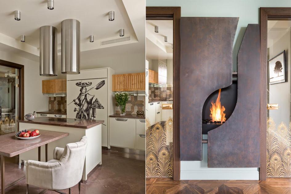 Кухня. Белый кухонный гарнитур, Meneghini. Камин, встроенный вперегородку междукухней игостиной, изготовлен компанией «Биокамин» поэскизам архитектора