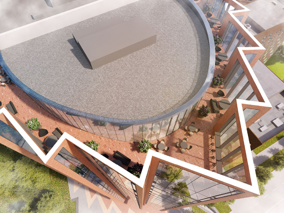 Визуализация архитектурного проекта DM Tower. Вид сверху