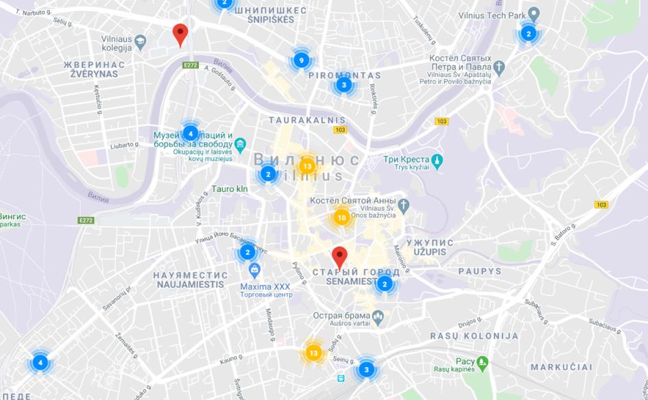 На карте Вильнюса отображаются мероприятия, к которым можно присоединиться. У каждого— отдельная карточка с описанием события и организационными моментами. Вы можете участвовать в любом событии или создать свое