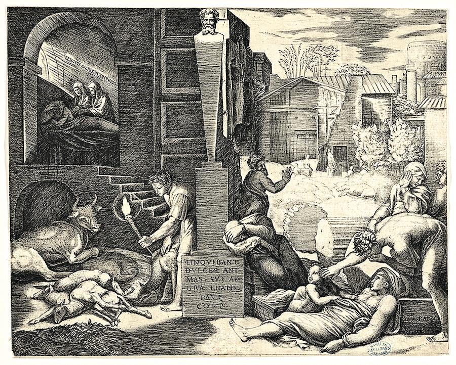 Сцена чумы справа, человек слева, держащий факел, освещающий часть сцены слева, больные люди справа. Маркантонио Раймонди, гравюра, ок. 1515–16 года