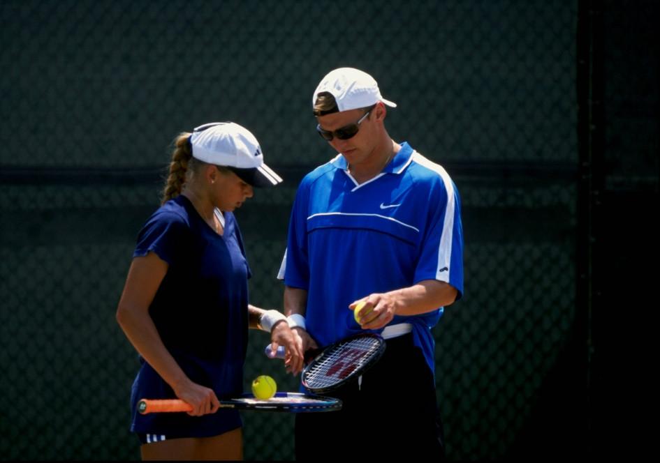 7 августа 1997. Анна Курникова и Сергей Федоров на теннисном корте в США