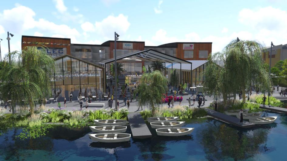 Вокруг и поперек водоема будут созданы пешеходные дорожки, а по периметру пруда компания построит магазины, фуд-корт, детскую и спортивную зоны
